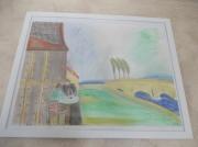 tableau abstrait abstrait paysage personnage paris : terrasse déserte