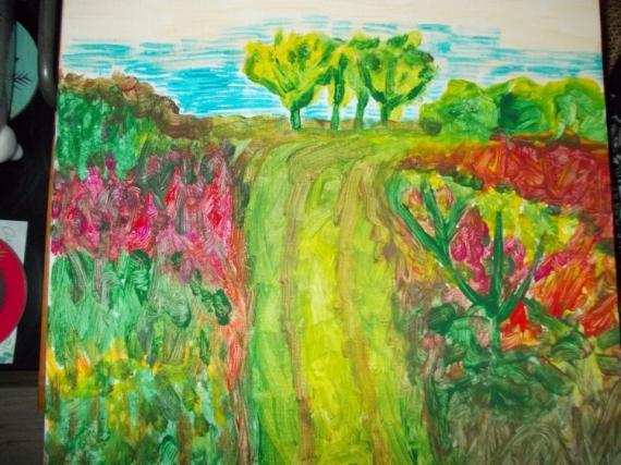 TABLEAU PEINTURE chemin printemps couleurs Paysages Acrylique  - chemin printanier