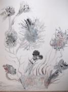 tableau abstrait : fleurs noires