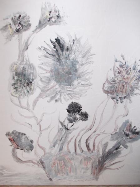 TABLEAU PEINTURE Abstrait  - fleurs noires