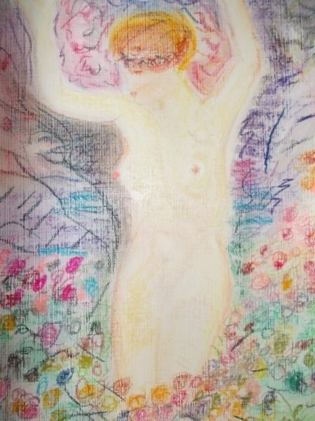 TABLEAU PEINTURE femme nue fleurs Nus Pastel  - femme au milieu des roses