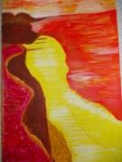 tableau abstrait : plage rouge