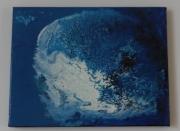 tableau personnages mixedmedia poisson bleu : Poisson lune