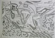 dessin abstrait hb : L'homme qui s'esclaffe