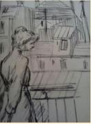 dessin personnages : La femme.au balcon