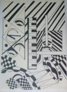 dessin abstrait : Le pianiste