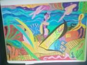 tableau abstrait : La femme en vacances 2