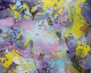 tableau abstrait nature fleur romance abstrait : champs de fleurs