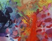tableau abstrait rainbow arc en ciel amour emotions : renaissance
