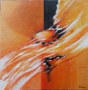 tableau abstrait abstrait jaune orange : Souffle du renouveau