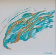 tableau abstrait abstrait blanc turquoise or empatement brillant : Luna