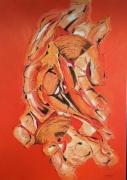 tableau samourai orange rouge jaune structure sable reli abstrait : Samouraï