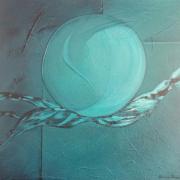 tableau abstrait abstrait bleu vert turquoise : Équilibre