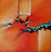 tableau abstrait oasis orange jau rouge orange abstrait : Oasis