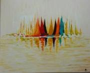 tableau marine mer bateaux large blanc creme empattement abstrait : Au large les bateaux