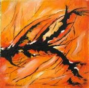 tableau abstrait energie jaune orange noir structure abstrait : Énergie de Feu