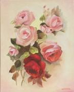 tableau fleurs rose fleur : roses
