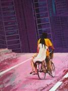 tableau personnages bicyclette couple ville immeuble : L'Epilogue