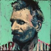 tableau personnages portrait barbe rayure van gogh : Portrait à la Chemise Rayée