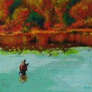 tableau scene de genre automne eau femme reflet : Bain d'Automne