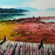 tableau paysages ponton chien sable maree : La Grève