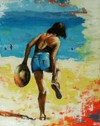 tableau scene de genre sable plage chaussure chapeau : La Sandale