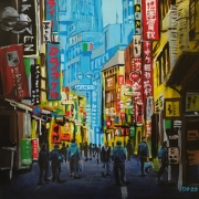 tableau architecture ville japon enseigne immeuble : Tokyo Shibuya Street (n°1)