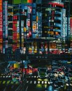 tableau architecture ville japon enseigne immeuble : Tokyo Shinjuku (n°4)