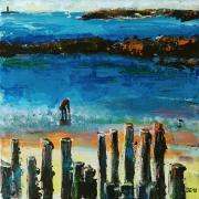 tableau paysages pecheur maree mer poteau : Saint-Malo