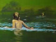 tableau scene de genre enfant reflet eau fraicheur : La Traversée
