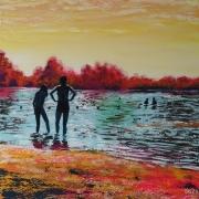 tableau paysages bain swimming lac lake : Bain d'Août