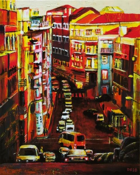TABLEAU PEINTURE Portugal ville voiture immeuble Villes Acrylique  - Lisbonne (n�