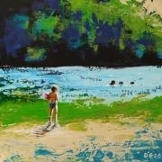 tableau paysages bouee enfant eau riviere : La Boudeuse