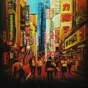 tableau architecture japon ville immeuble enseigne : Tokyo Shinjuku (n°5)