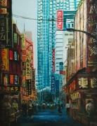 tableau architecture ville japon enseigne immeuble : Tokyo Shinjuku (n°2)