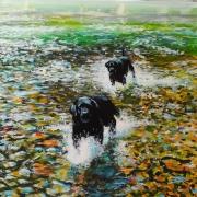 tableau animaux chien eau goutte fraicheur : Les Chiens