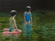 tableau scene de genre enfant eau reflet bouee : Le Bain (n°2)