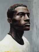 tableau personnages portrait homme noir tshirt : Portrait d'Homme n°4