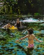 tableau scene de genre famille bouee baignade eau : Premier Bain