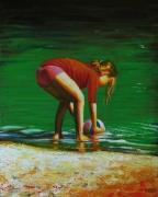 tableau scene de genre eau ballon enfant riviere : Le Ballon