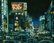 tableau architecture ville japon enseigne immeuble : Tokyo Shibuya (n°2)