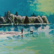 tableau paysages eau chien reflet glace : Le Lac