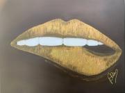 tableau abstrait levre doree toulouse peinture : Goldlips