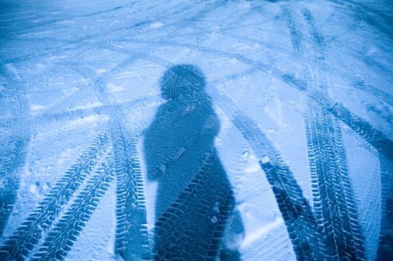 PHOTO autoportrait surréalisme surimpression neige Abstrait  - Ma vie en bleu