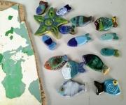 artisanat dart marine poissons ceramiques faience pieces uniques mosaiques : ensemble n°607 11043 2