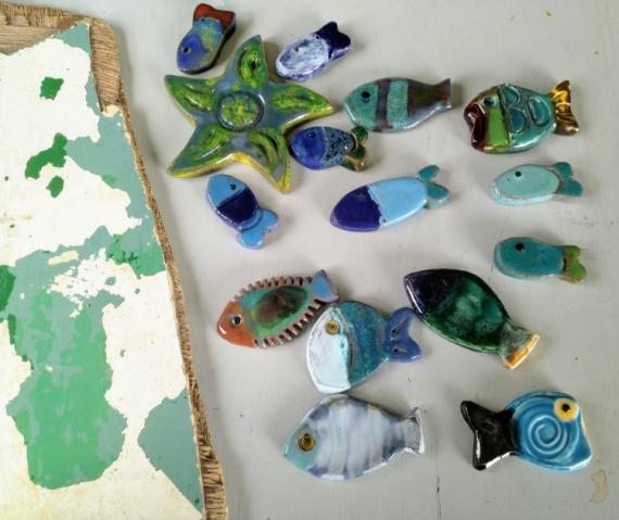 ARTISANAT D'ART poissons c閞amiques fa飁nce pi鑓es uniques mosa飍ues Marine  - ensemble n�7 11043 2