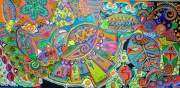 tableau marine toile 50x100 peinture acrylique hillary art naif : caraïbes