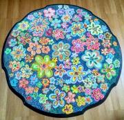 artisanat dart fleurs peinture acrylique meuble relooking meuble motifs naifs fleurs : Relooking table