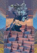 tableau paysages chien montagne husky : Portrait d'Husky