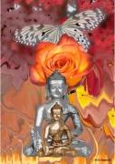 tableau personnages bouddha rose papillon religion : Bouddha, rose et papillon